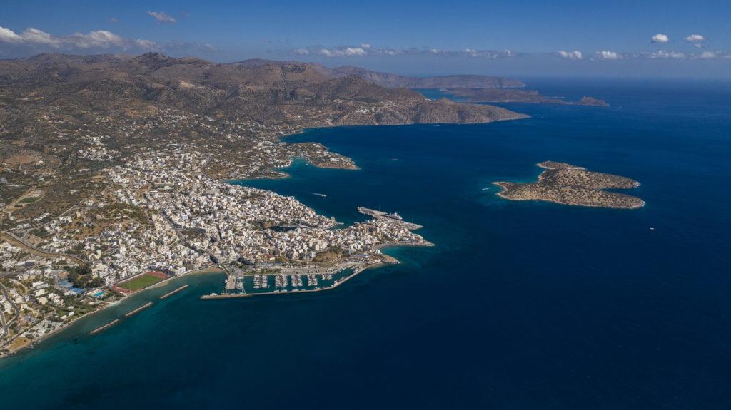 Drone view to Agios Nikolaos city, Crete island