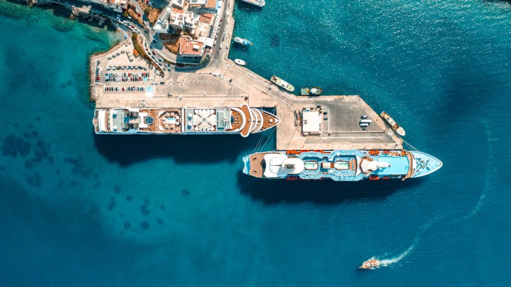 Ships port in Agios Nikolaos city, Crete island