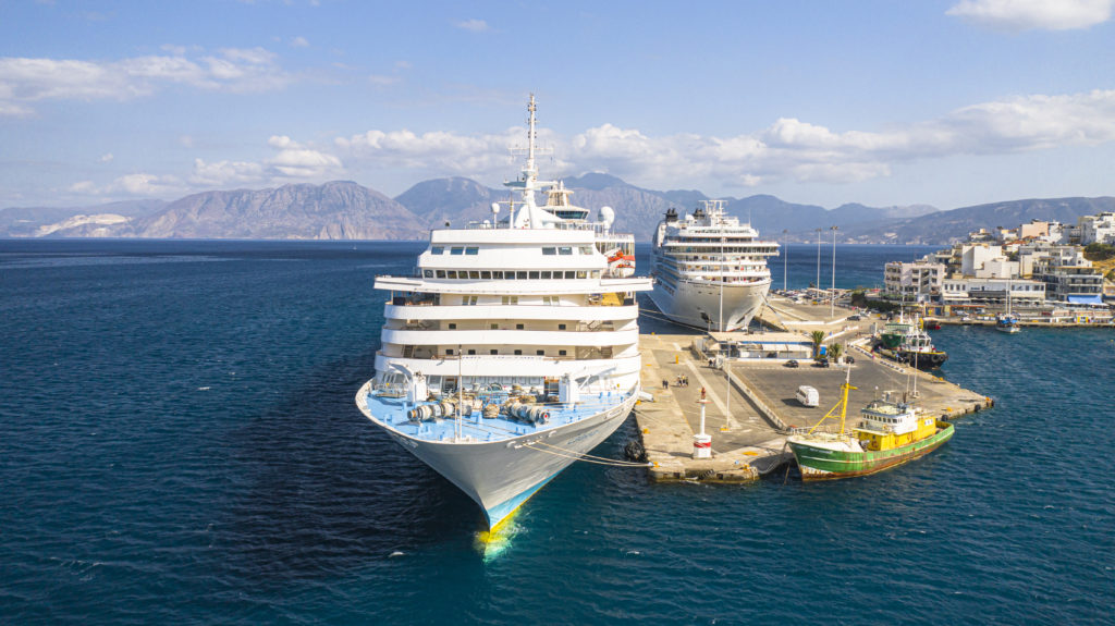 Cruise ships in the port of Agios Nikolaos drone view, Crete island