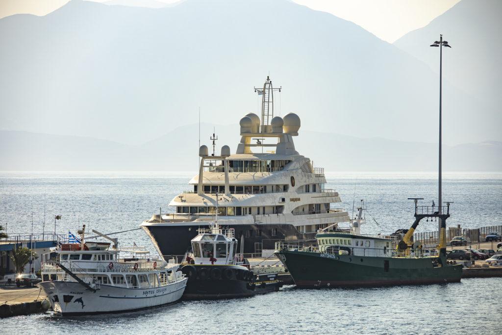 Big ship in the port of Agios Nikolaos